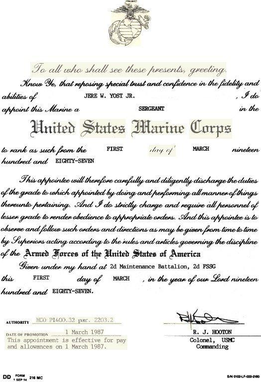 Meritorious Mast Example Usmc Staff Nco Promotion Warrant
