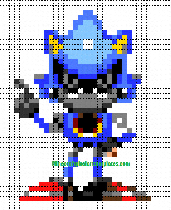 Metal sonic Pixel Art Minecraft Pixel Art Templates Metal sonic