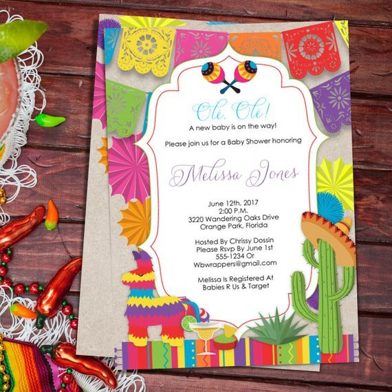 Mexican Fiesta Invitation Templates Free Baby Shower Fiesta Mexican themed Baby Shower Invitation