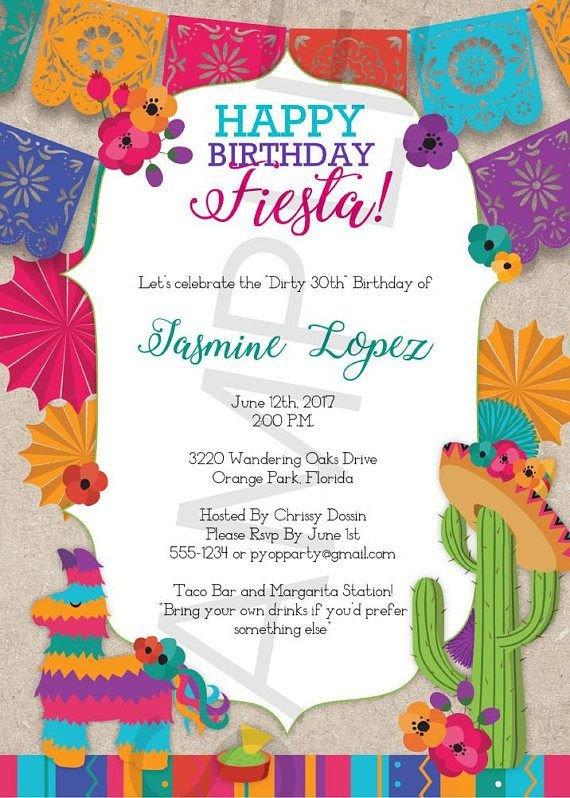 Mexican Fiesta Invitation Templates Free Birthday Fiesta Mexican Style Party Invitation Template