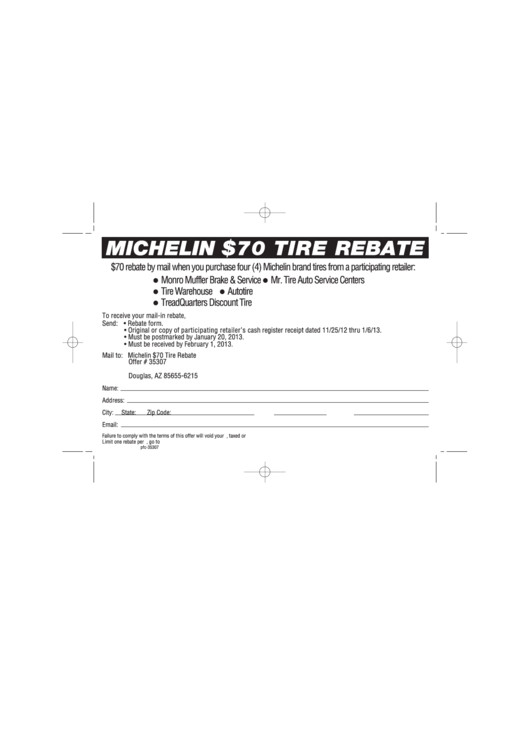 Michelin Rebate form Pdf Michelin 70 Tire Rebate Printable Pdf