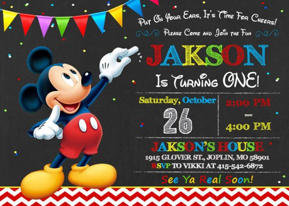 Mickey Mouse Birthday Invitations Template 30 Mickey Mouse Invitation Template