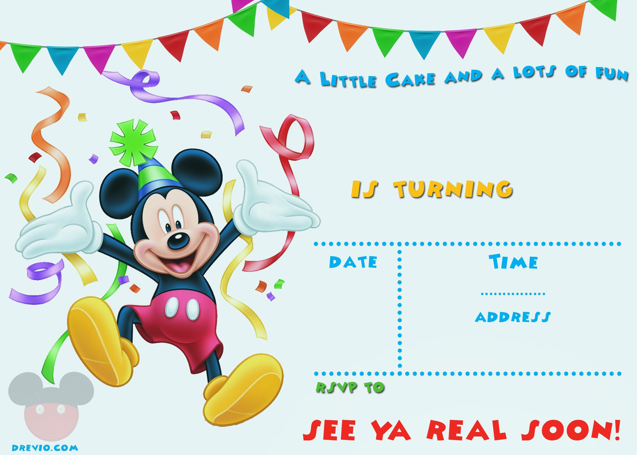 Mickey Mouse Birthday Invitations Template Free Mickey Mouse 1st Birthday Invitations – Free