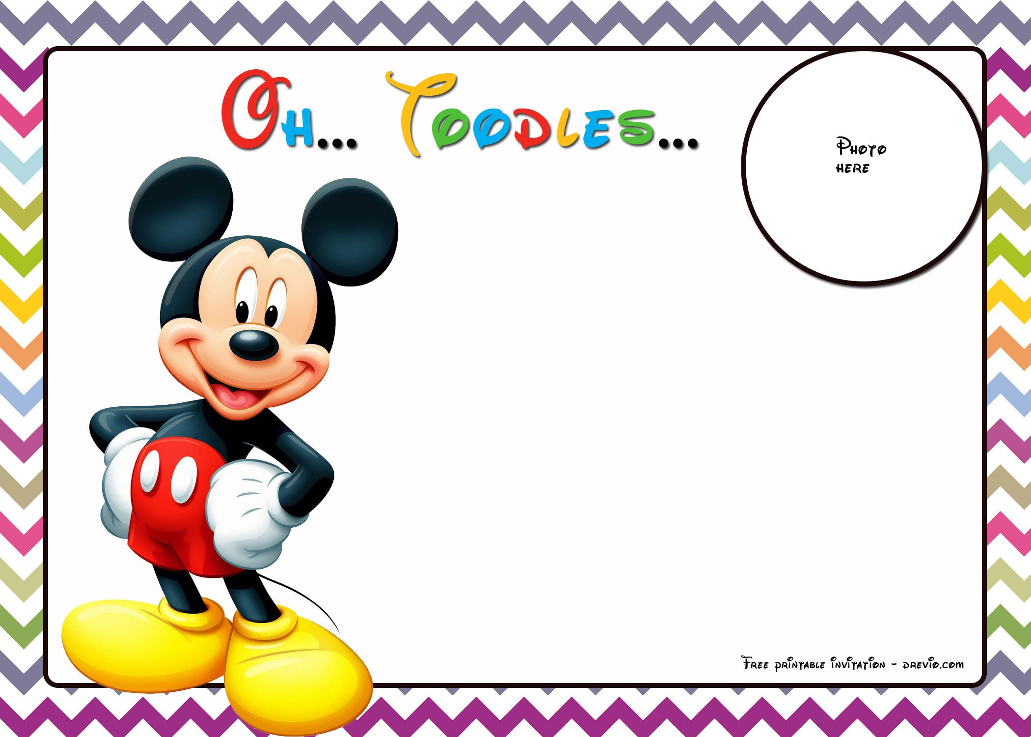 Mickey Mouse Birthday Invitations Template Free Mickey Mouse Birthday Invitations Template – Chevron