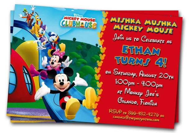 Mickey Mouse Birthday Invitations Template Free Mickey Mouse Clubhouse 1st Birthday Invitations