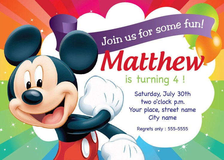 Mickey Mouse Birthday Invitations Template Mickey Mouse Birthday Invitation Card Printable Template