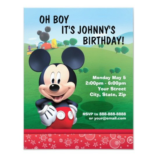 Mickey Mouse Birthday Invitations Template Mickey Mouse Birthday Invitation