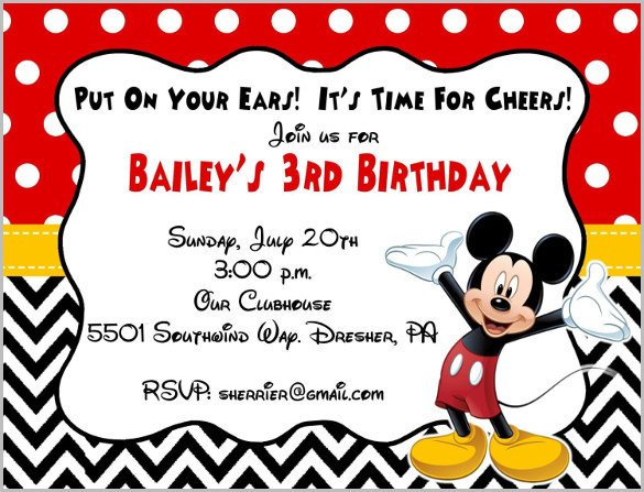 Mickey Mouse Birthday Invitations Template Mickey Mouse Invitation Templates – 29 Free Psd Vector