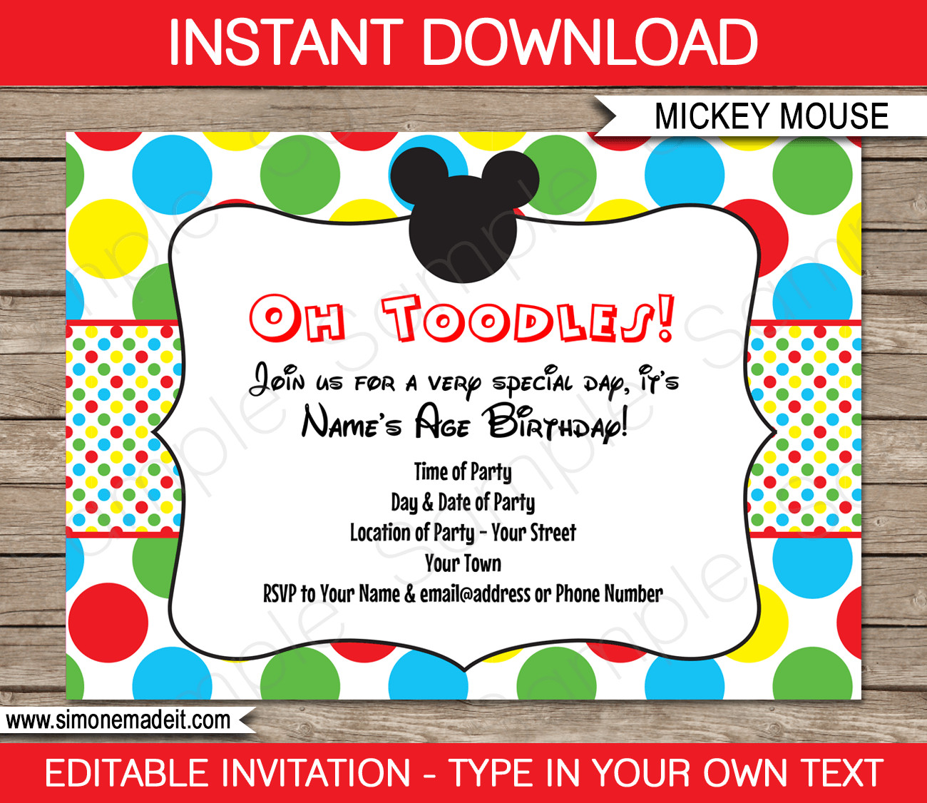 Mickey Mouse Birthday Invitations Template Mickey Mouse Party Invitations Template