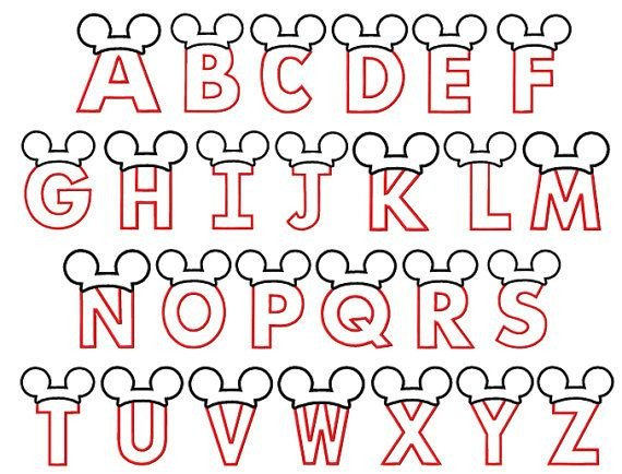 Mickey Mouse Font Free Letters with Mickey Mouse Ears Applique Designs 4x4 and
