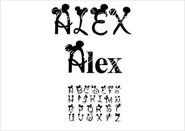 Mickey Mouse Font Free Mickey Mouse Disney Font Silhouette