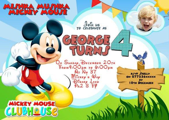 Mickey Mouse Invitation Maker 31 Mickey Mouse Invitation Templates Free Sample