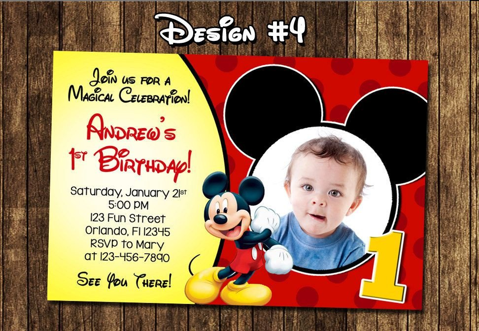 Mickey Mouse Invitation Maker Best Create Own Mickey Mouse 1st Birthday Invitations Free
