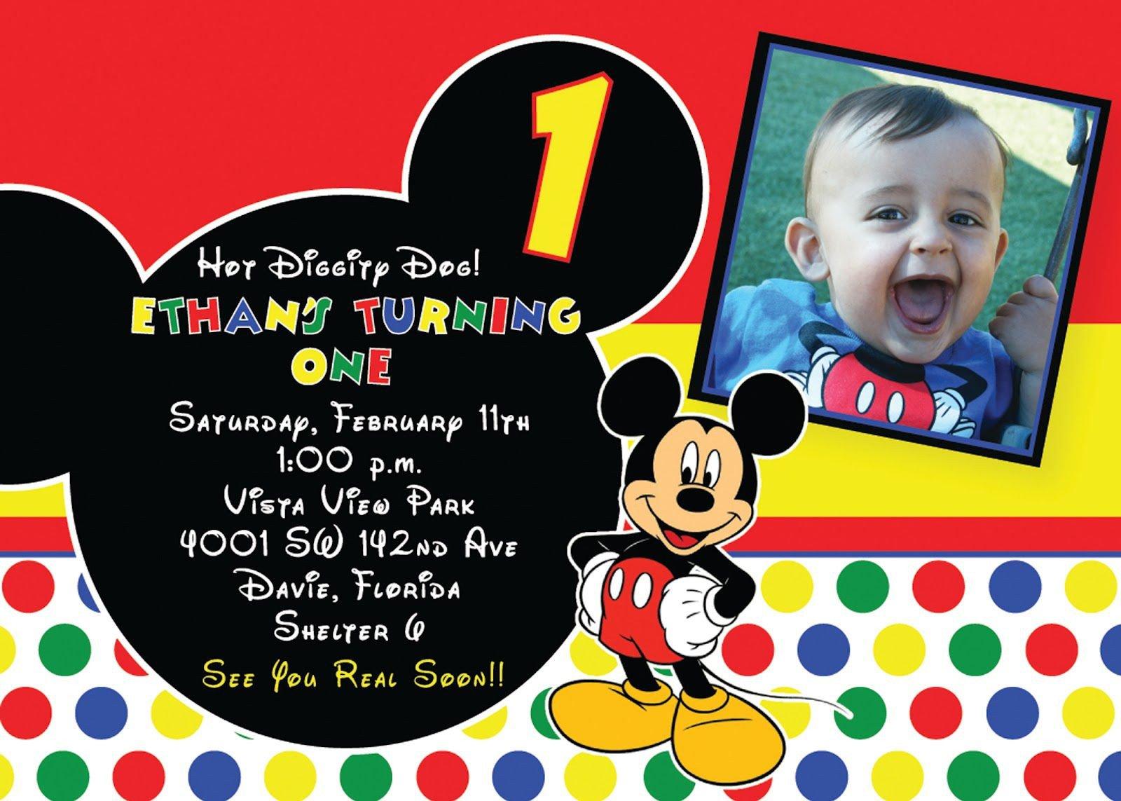 Mickey Mouse Invitation Maker Birthday Invitation Mickey Mouse Birthday Invitations