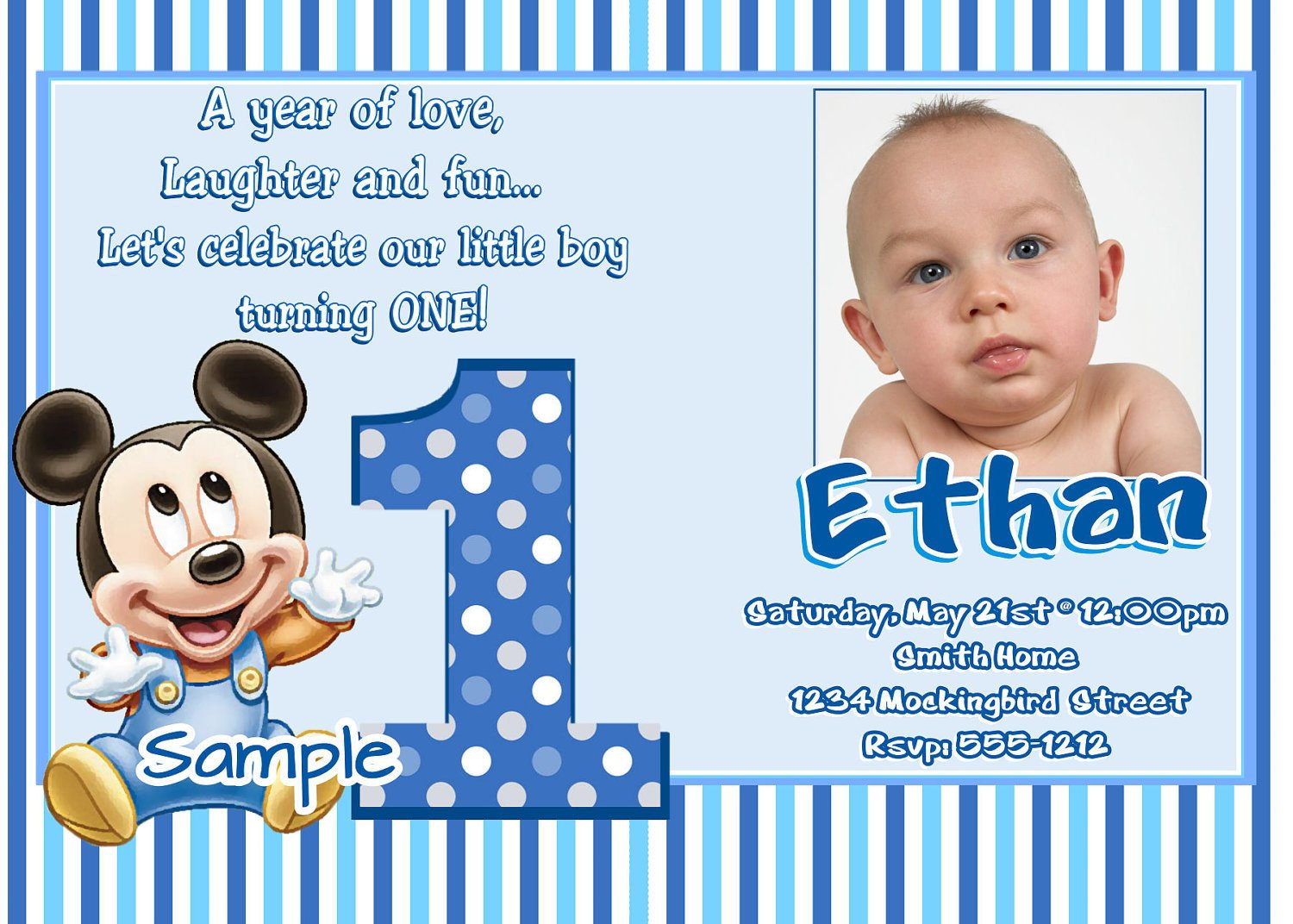 Mickey Mouse Invitation Maker Mickey Mouse 1st Birthday Invitations Baby Mickey Mouse 1st