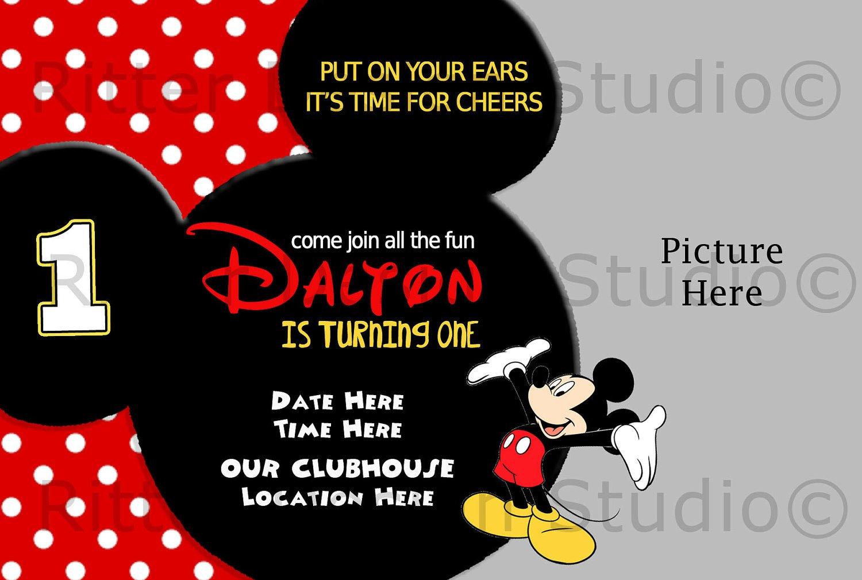 Mickey Mouse Invitation Maker Mickey Mouse Birthday Invitation by Ritterdesignstudio