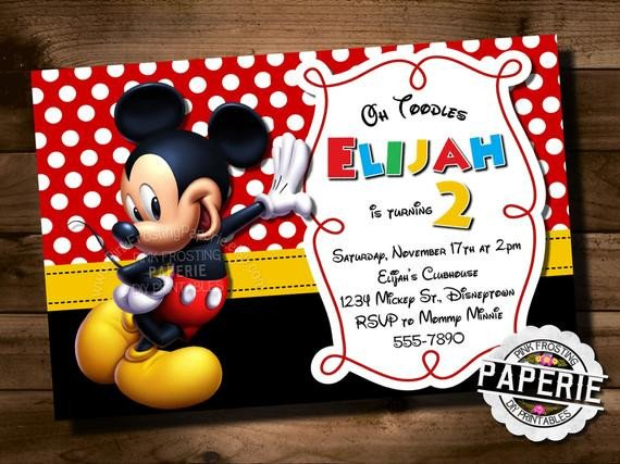 Mickey Mouse Invitation Maker Mickey Mouse Birthday Invitation Mickey Mouse Clubhouse