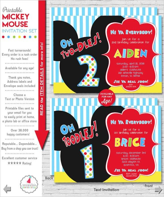 Mickey Mouse Invitation Maker Mickey Mouse Invitation Mickey Mouse by Amandaspartiestogo