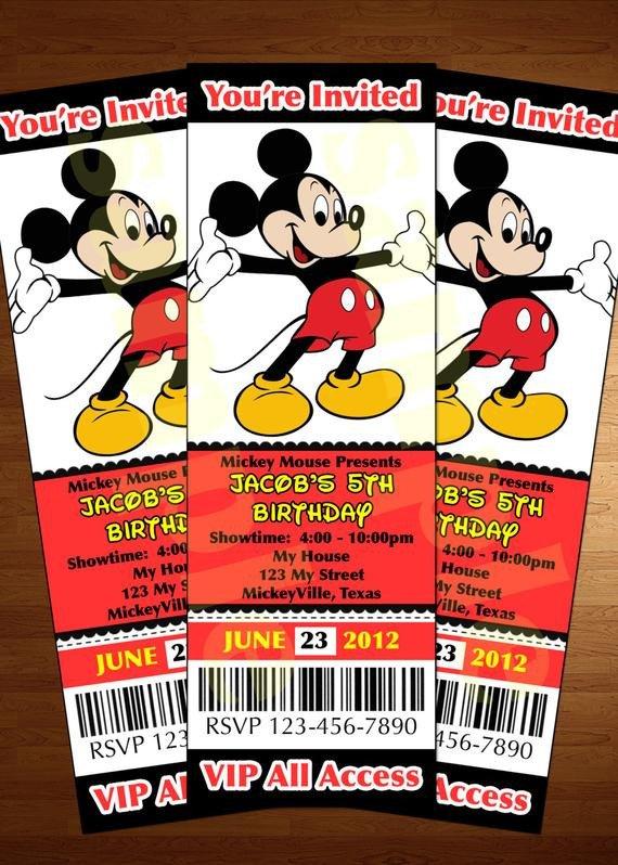 Mickey Mouse Invitation Maker Mickey Mouse Ticket Invitation Printable Diy Invite Red