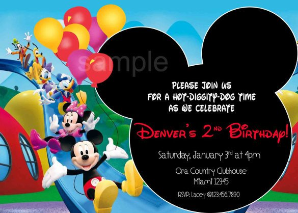 Mickey Mouse Invitation Template 15 Mickey Mouse Birthday Invitation Templates – Psd