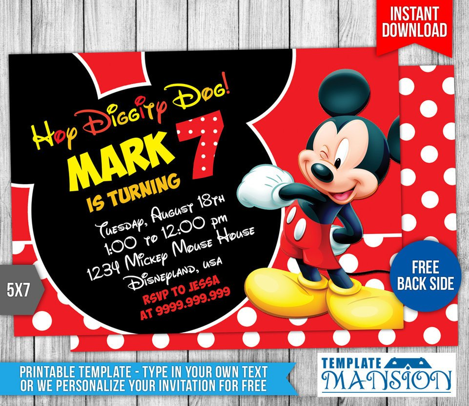 Mickey Mouse Invitation Template Mickey Mouse Birthday Invitation 4 by Templatemansion On