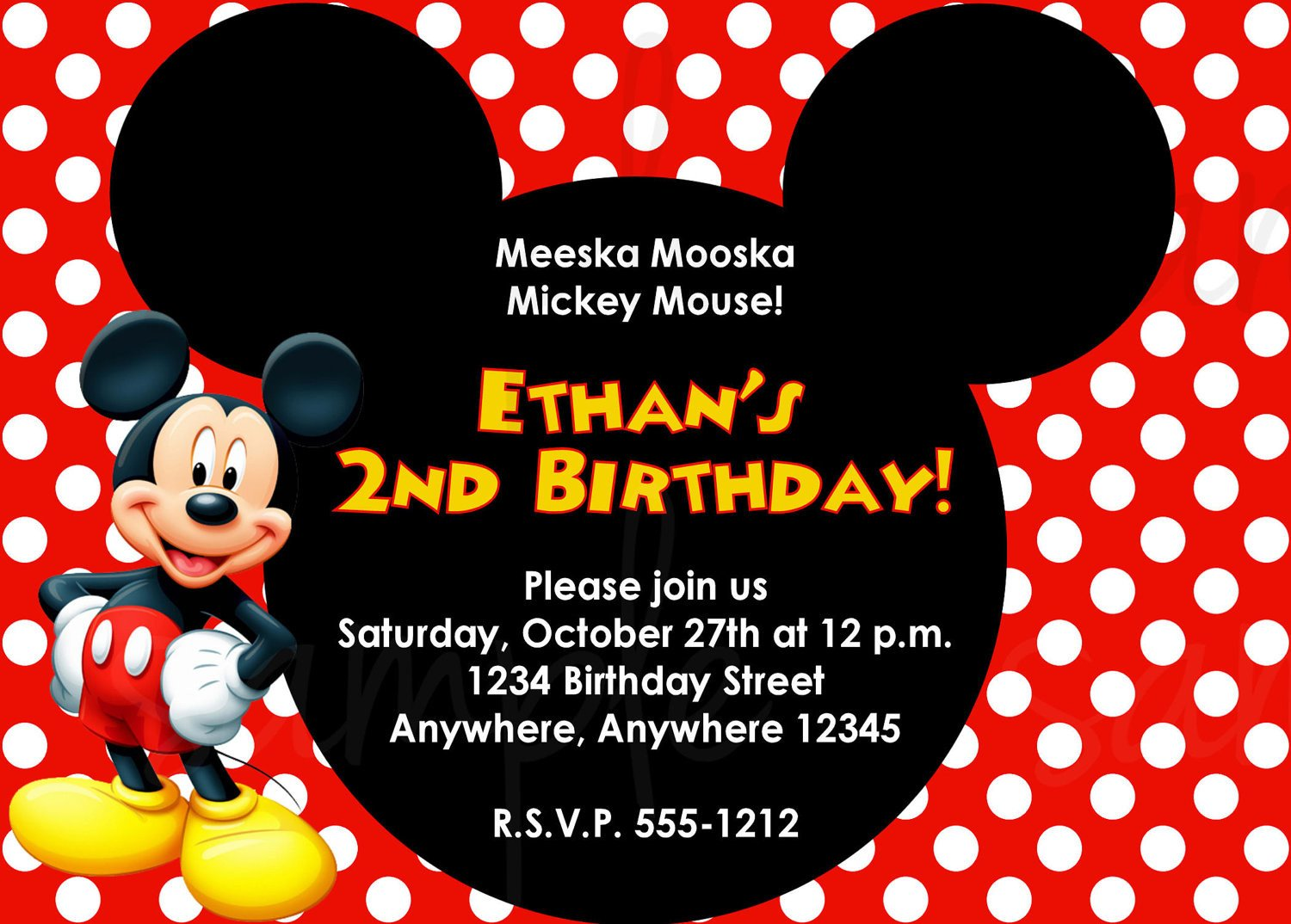 Mickey Mouse Invitation Template Mickey Mouse Birthday Invitation