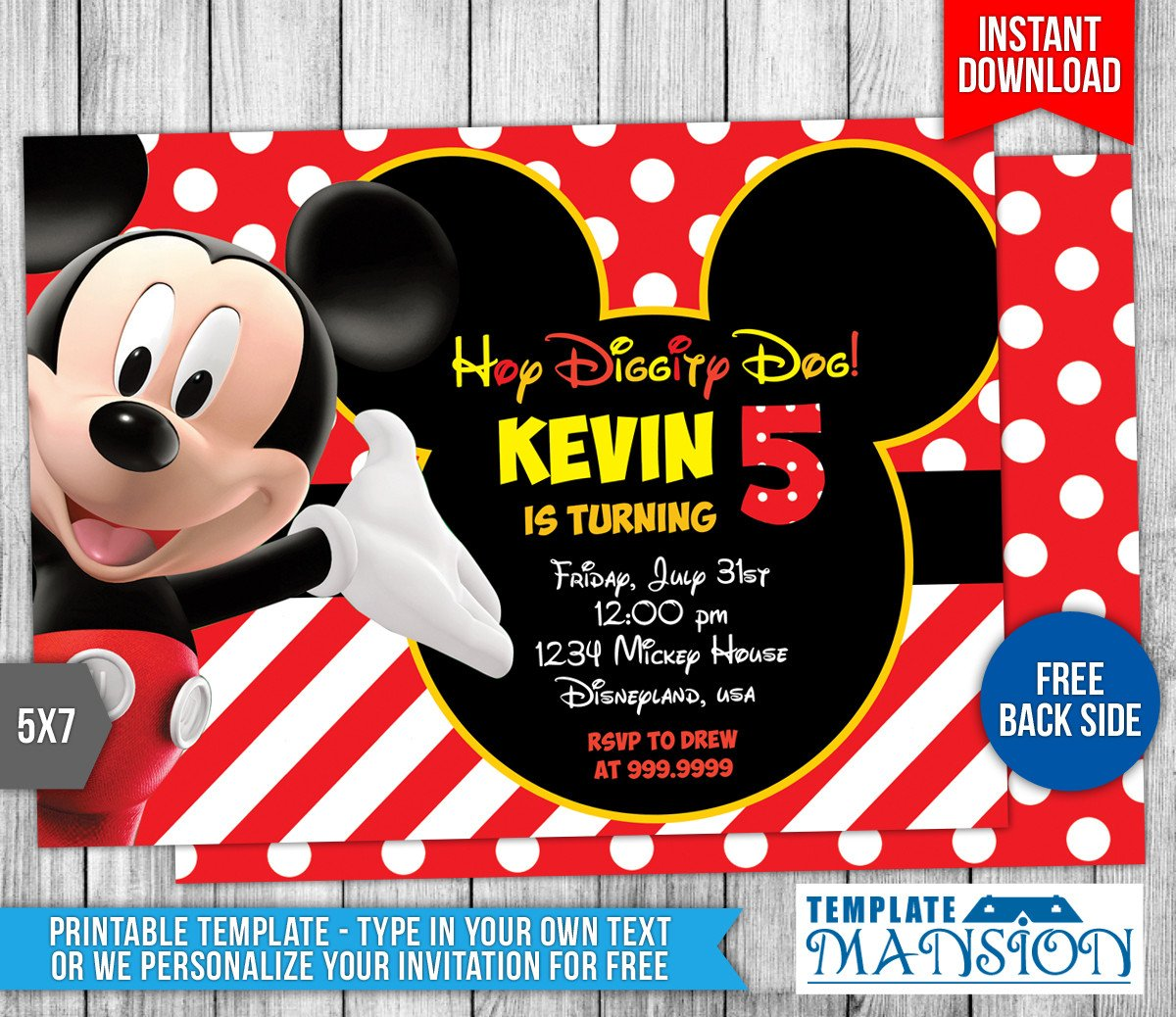 Mickey Mouse Invitation Template Mickey Mouse Clubhouse Birthday Invitation by