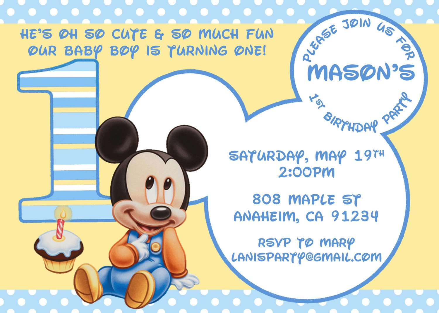 Mickey Mouse Invitations Template Baby Mickey Mouse Matches Mickey S 1st Party by