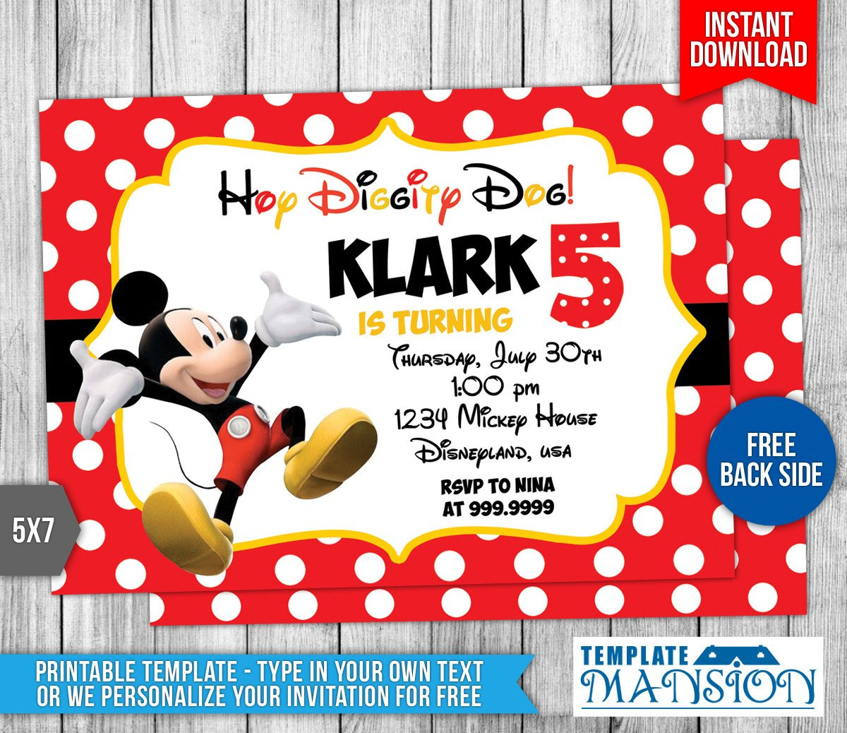 Mickey Mouse Invitations Template Disney Mickey Mouse Birthday Invitation by Templatemansion