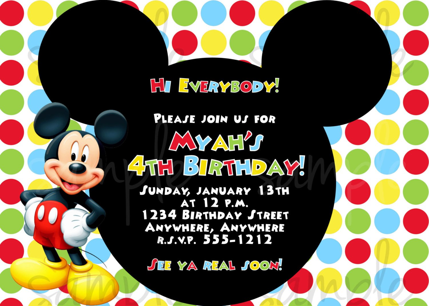 Mickey Mouse Invitations Template Mickey Mouse Birthday Invitation