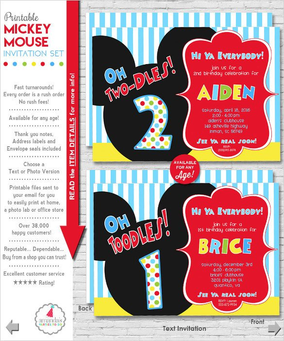 Mickey Mouse Invitations Templates 31 Mickey Mouse Invitation Templates Free Sample