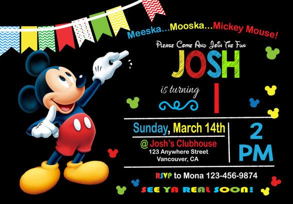 Mickey Mouse Invitations Templates 49 Birthday Invitation Templates Psd Ai Word
