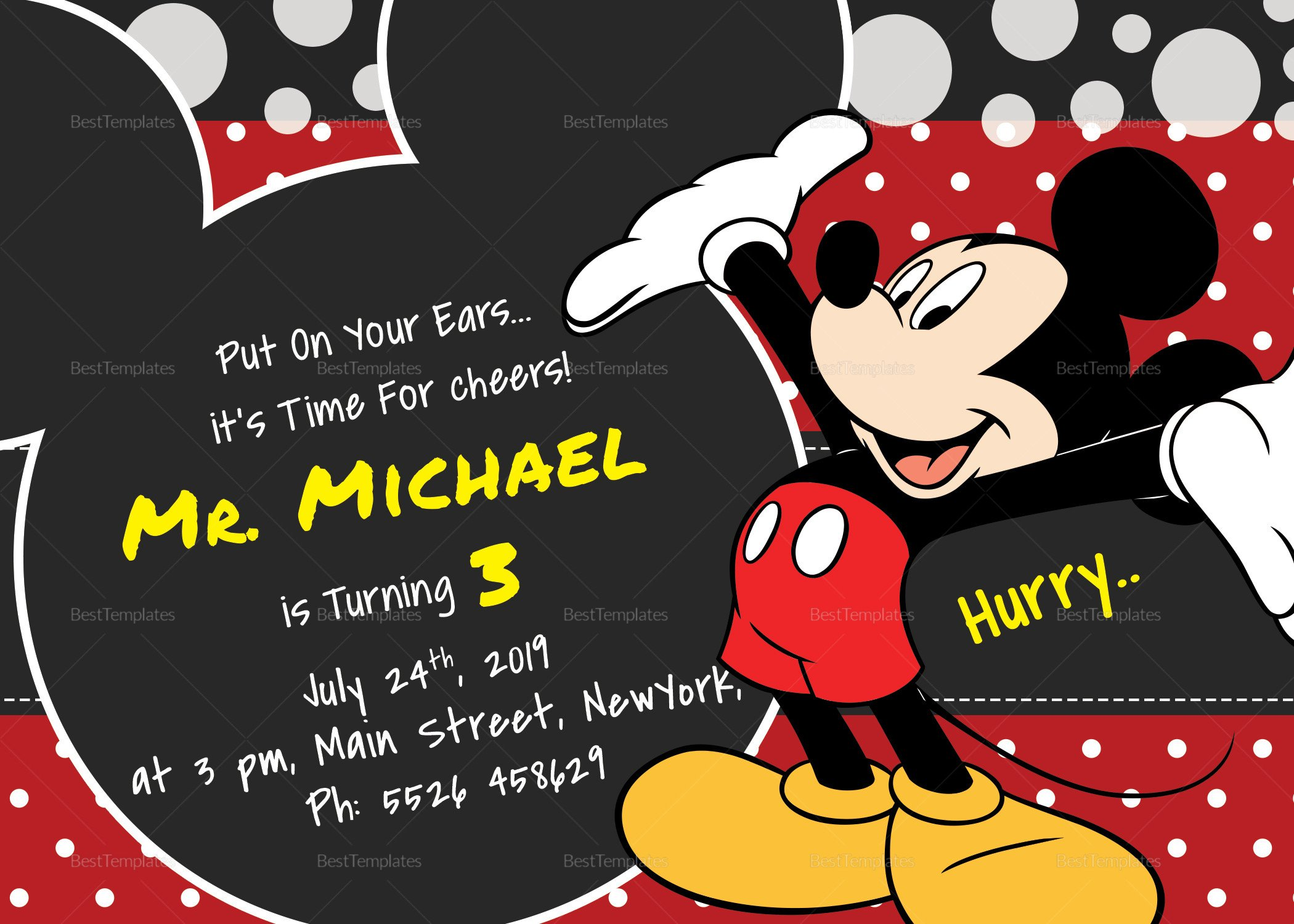 Mickey Mouse Invitations Templates Delightful Mickey Mouse Birthday Invitation Card Design