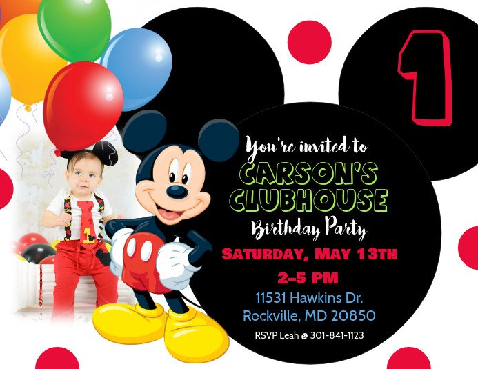 Mickey Mouse Invitations Templates Mickey Mouse Birthday Invitation Template