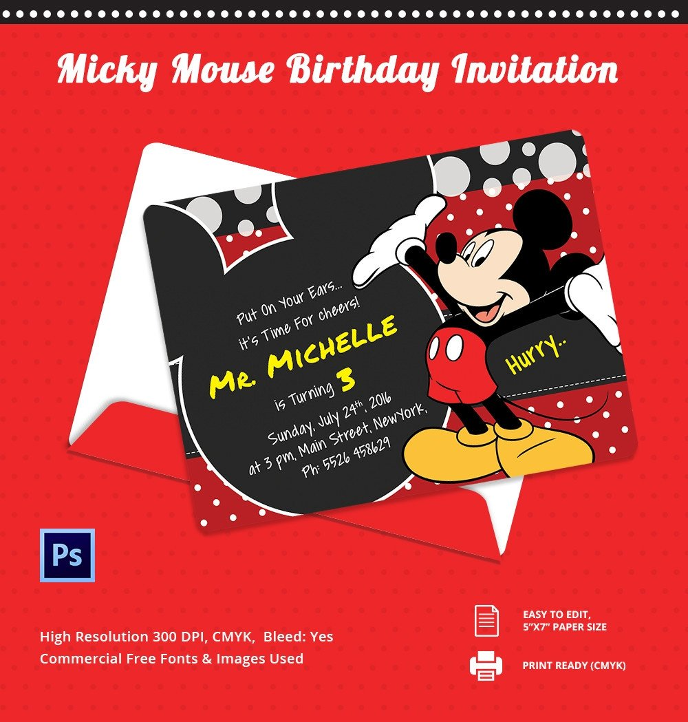 Mickey Mouse Invitations Templates Mickey Mouse Invitation Template – 23 Free Psd Vector