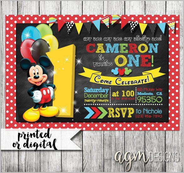Mickey Mouse Invitations Templates Mickey Mouse Invitation Templates – 29 Free Psd Vector