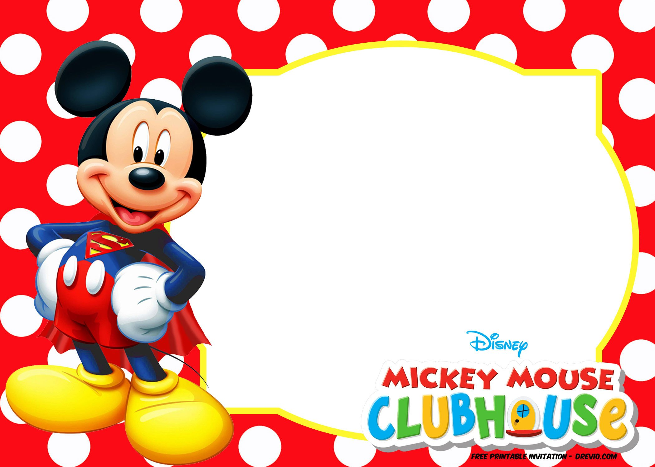 Mickey Mouse Invitations Templates Mickey Mouse Polka Dot Invitation Templates
