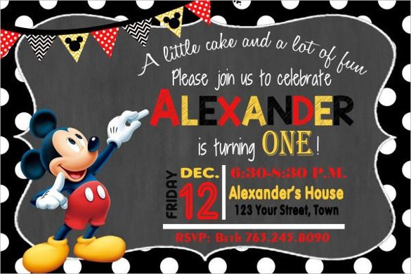 Mickey Mouse Photo Invitations 31 Mickey Mouse Invitation Templates Free Sample