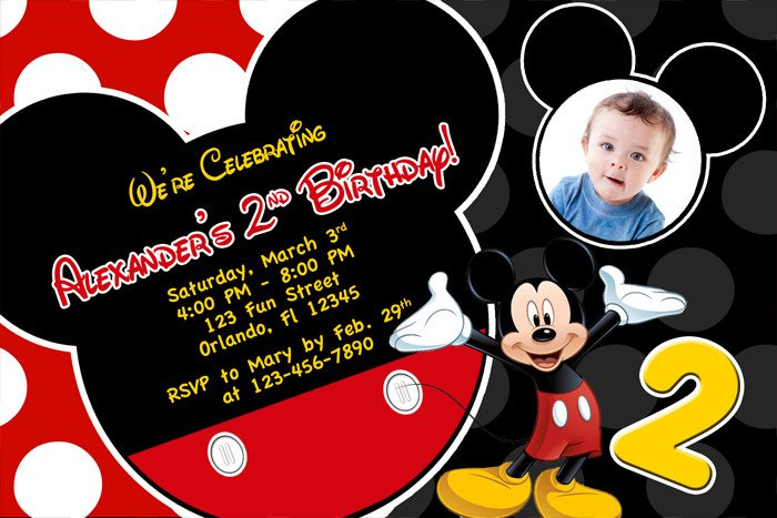 Mickey Mouse Photo Invitations Mickey Mouse 1st Birthday Invitations Ideas – Bagvania