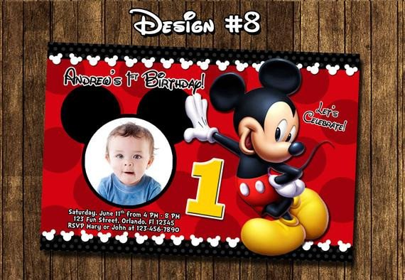 Mickey Mouse Photo Invitations Mickey Mouse Baby First Birthday Party Invitations