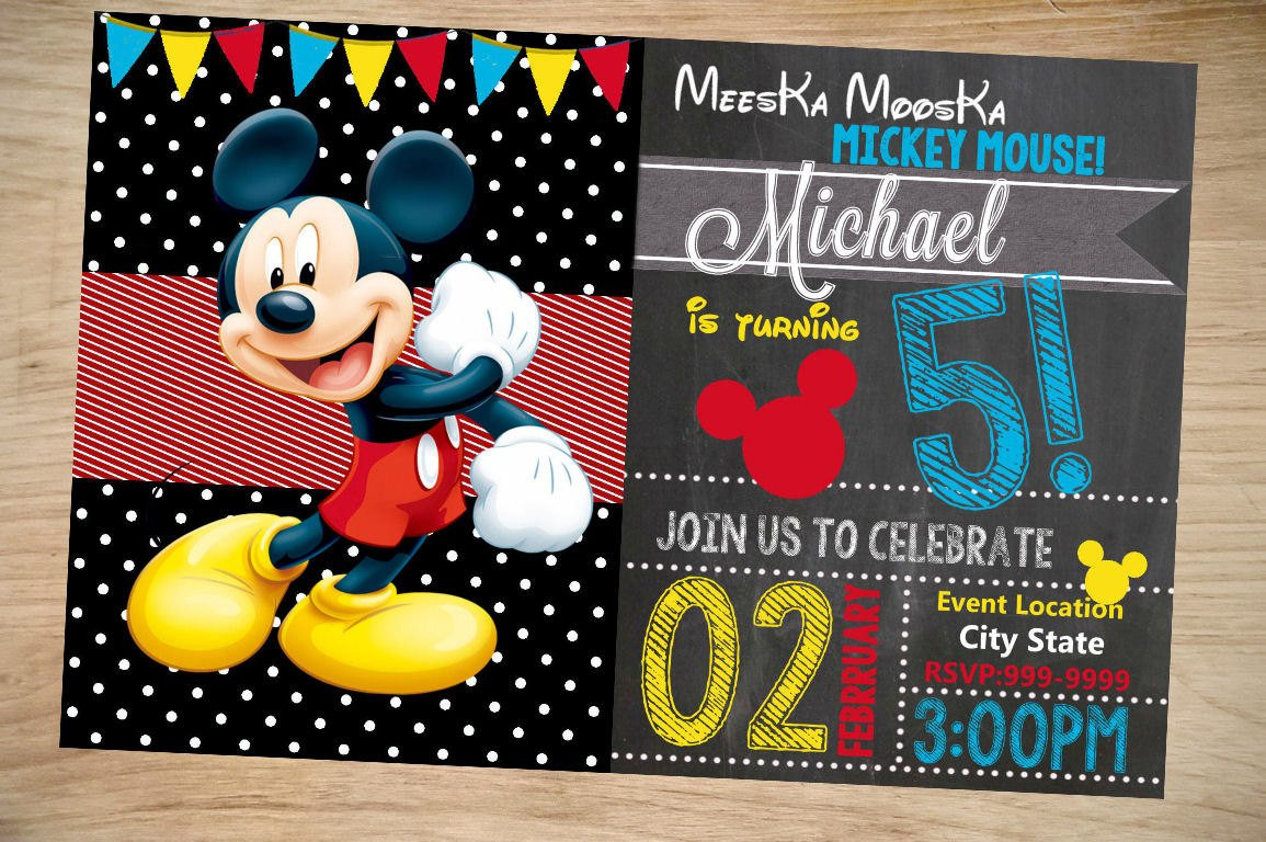 Mickey Mouse Photo Invitations Mickey Mouse Birthday Invitation Birthday Invitation