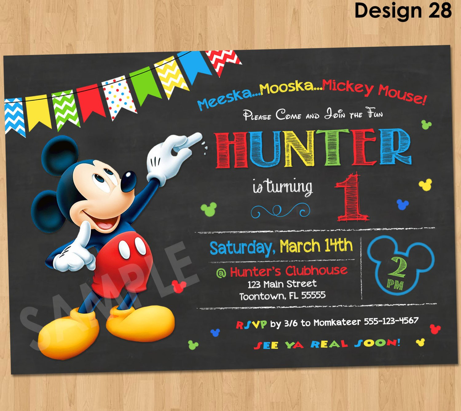Mickey Mouse Photo Invitations Mickey Mouse Birthday Invitation Mickey Mouse Clubhouse