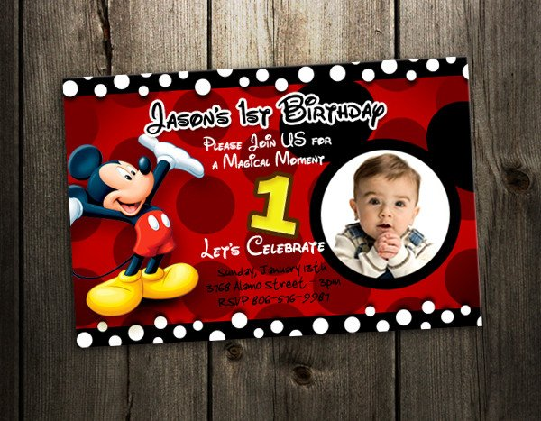 Mickey Mouse Photo Invitations Mickey Mouse Birthday Invitation Party Card Photo Invites