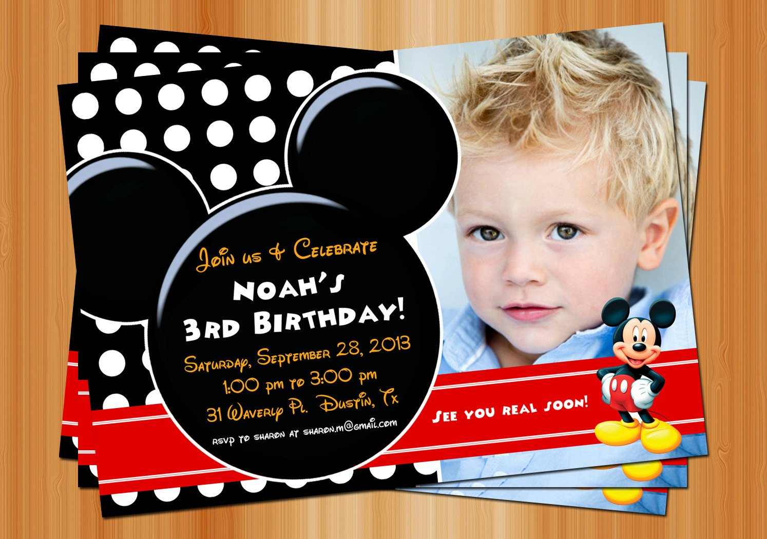 Mickey Mouse Photo Invitations Mickey Mouse Birthday Invitation Printable Birthday Party