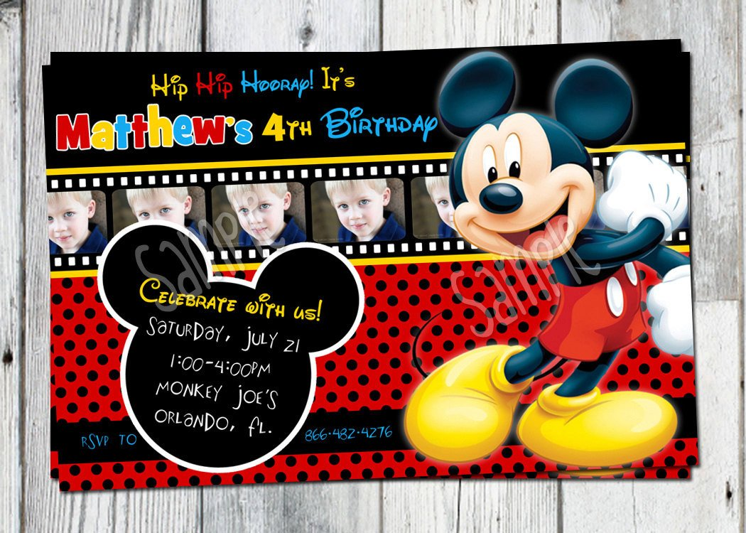 Mickey Mouse Photo Invitations Mickey Mouse Birthday Invitation Printable Boys Personalized