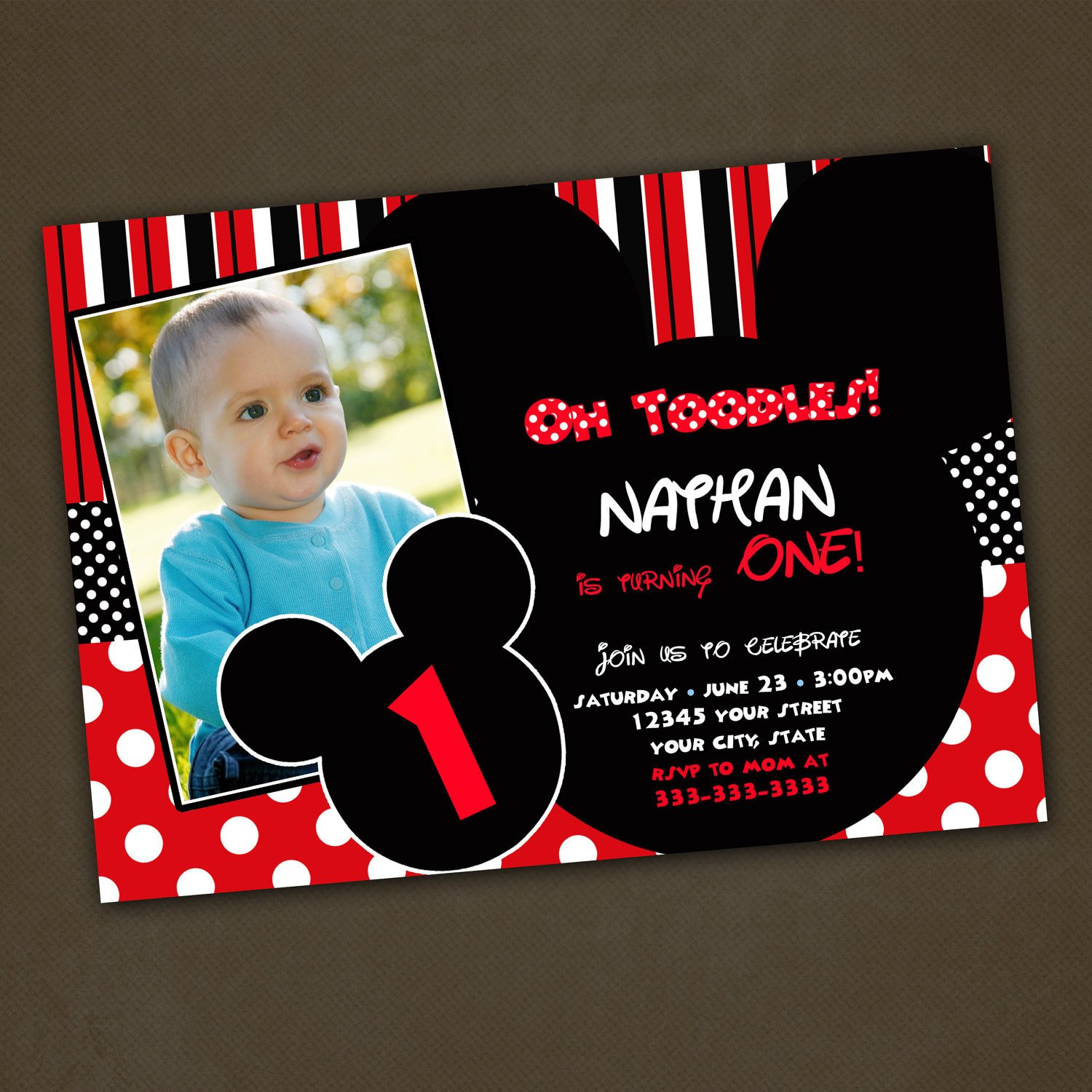 Mickey Mouse Photo Invitations Mickey Mouse Birthday Invitations Custom for by