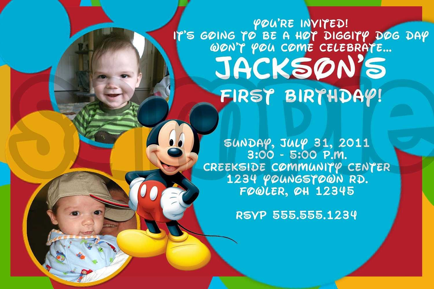 Mickey Mouse Photo Invitations Mickey Mouse Birthday Invitations