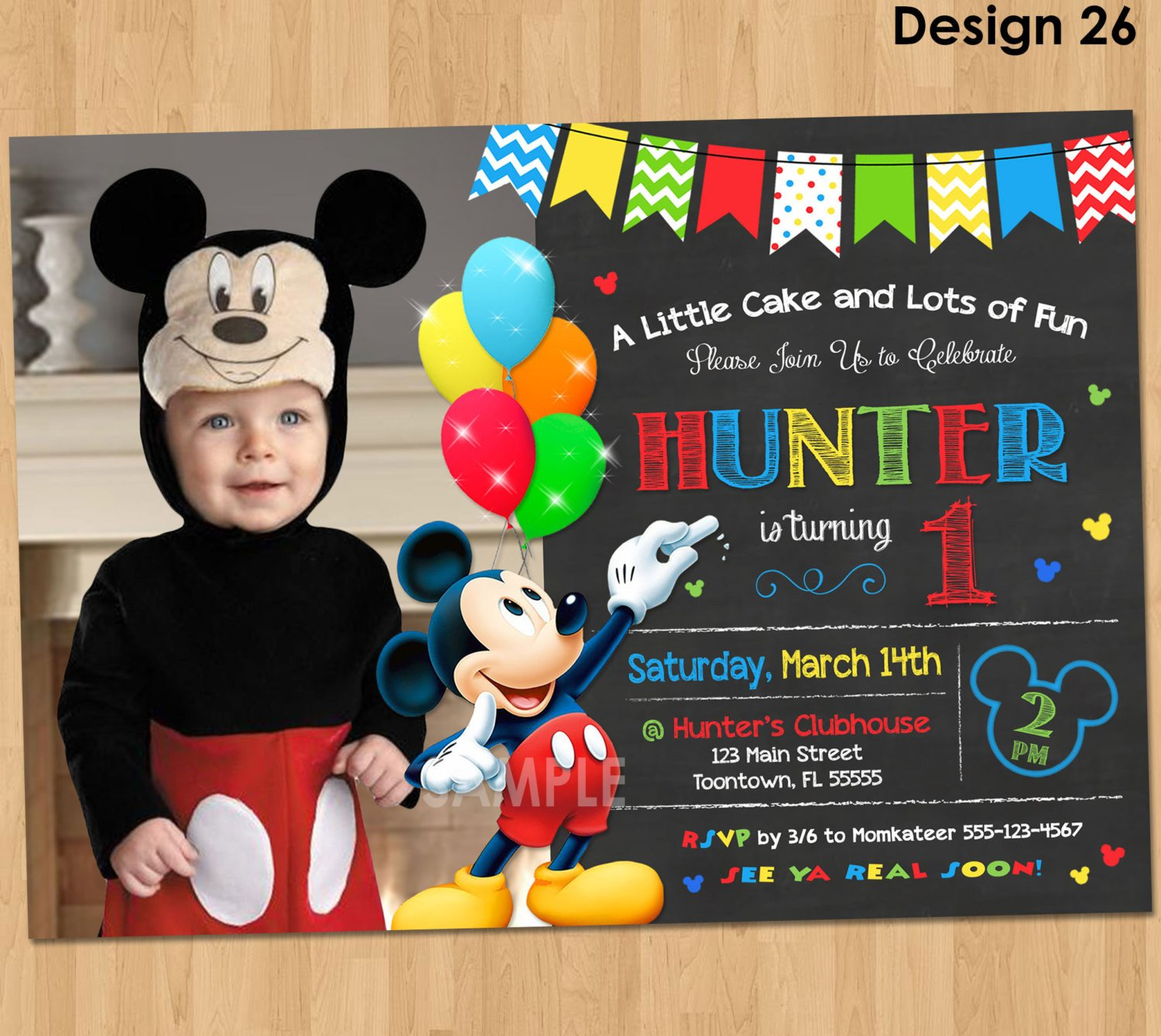 Mickey Mouse Photo Invitations Mickey Mouse Invitation Birthday Mickey Mouse 1st Birthday