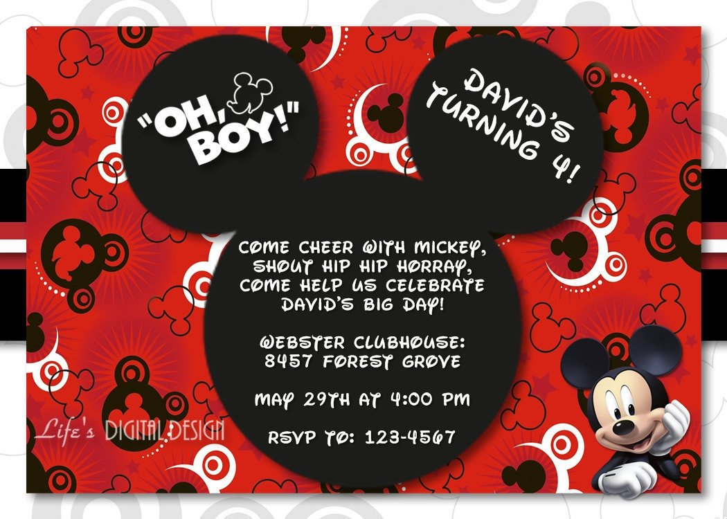 Mickey Mouse Photo Invitations Mickey Mouse Invitation Birthday with Options