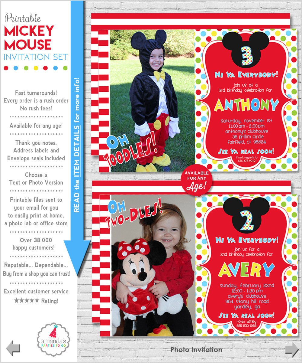 Mickey Mouse Photo Invitations Mickey Mouse Invitation Mickey Mouse Birthday Invitation